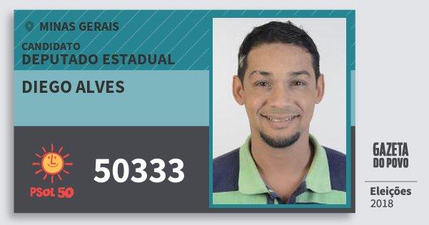 Santinho Diego Alves 50333 (PSOL) Deputado Estadual | Minas Gerais | Eleições 2018