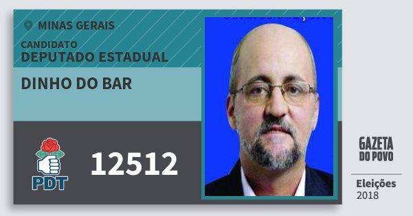 Santinho Dinho do Bar 12512 (PDT) Deputado Estadual | Minas Gerais | Eleições 2018