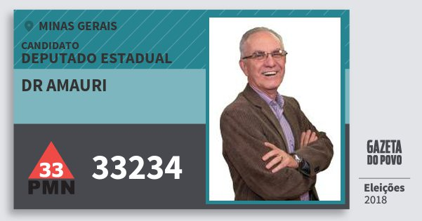 Santinho Dr Amauri 33234 (PMN) Deputado Estadual | Minas Gerais | Eleições 2018