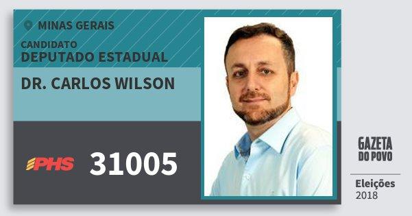 Santinho Dr. Carlos Wilson 31005 (PHS) Deputado Estadual | Minas Gerais | Eleições 2018