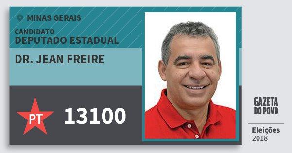 Santinho Dr. Jean Freire 13100 (PT) Deputado Estadual | Minas Gerais | Eleições 2018