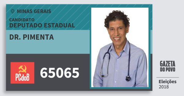Santinho Dr. Pimenta 65065 (PC do B) Deputado Estadual | Minas Gerais | Eleições 2018