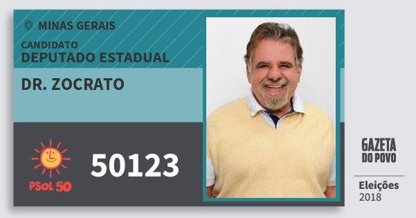 Santinho Dr. Zocrato 50123 (PSOL) Deputado Estadual | Minas Gerais | Eleições 2018