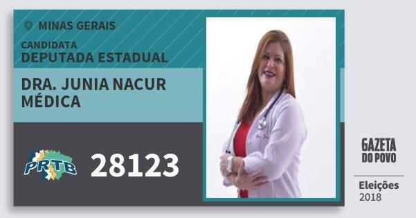 Santinho Dra. Junia Nacur Médica 28123 (PRTB) Deputada Estadual | Minas Gerais | Eleições 2018