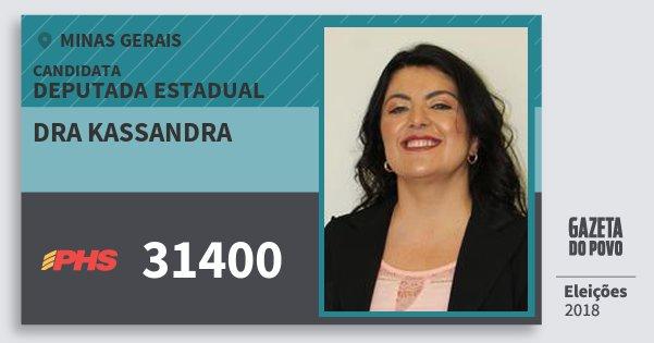 Santinho Dra Kassandra 31400 (PHS) Deputada Estadual | Minas Gerais | Eleições 2018
