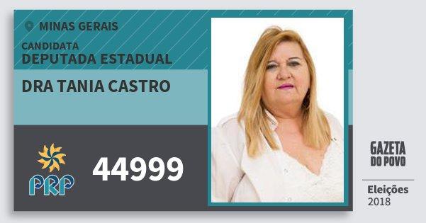 Santinho Dra Tania Castro 44999 (PRP) Deputada Estadual | Minas Gerais | Eleições 2018