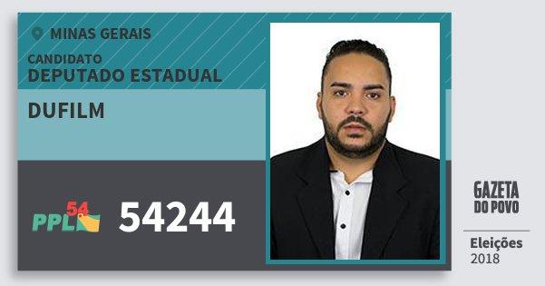 Santinho Dufilm 54244 (PPL) Deputado Estadual | Minas Gerais | Eleições 2018