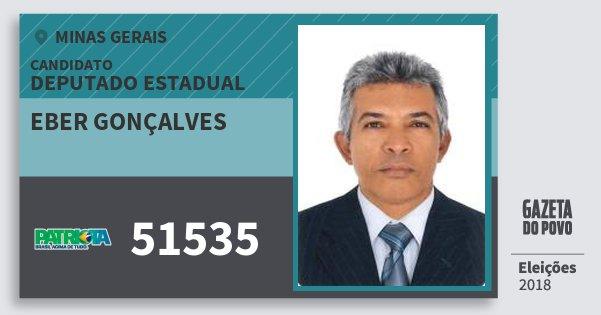 Santinho Eber Gonçalves 51535 (PATRI) Deputado Estadual | Minas Gerais | Eleições 2018