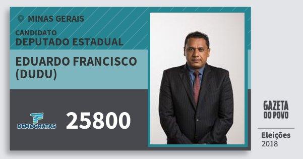 Santinho Eduardo Francisco (Dudu) 25800 (DEM) Deputado Estadual | Minas Gerais | Eleições 2018