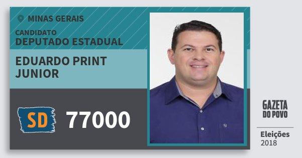 Santinho Eduardo Print Junior 77000 (SOLIDARIEDADE) Deputado Estadual | Minas Gerais | Eleições 2018