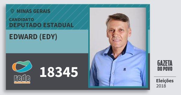 Santinho Edward (Edy) 18345 (REDE) Deputado Estadual | Minas Gerais | Eleições 2018