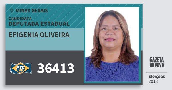 Santinho Efigenia Oliveira 36413 (PTC) Deputada Estadual | Minas Gerais | Eleições 2018