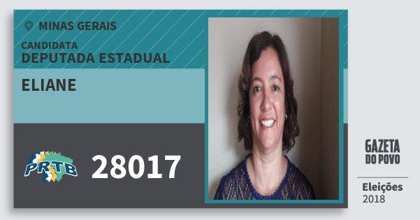 Santinho Eliane 28017 (PRTB) Deputada Estadual | Minas Gerais | Eleições 2018