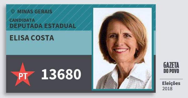 Santinho Elisa Costa 13680 (PT) Deputada Estadual | Minas Gerais | Eleições 2018
