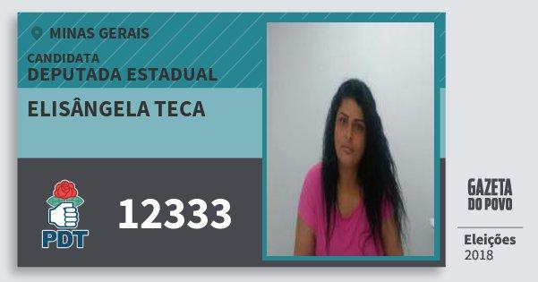 Santinho Elisângela Teca 12333 (PDT) Deputada Estadual | Minas Gerais | Eleições 2018
