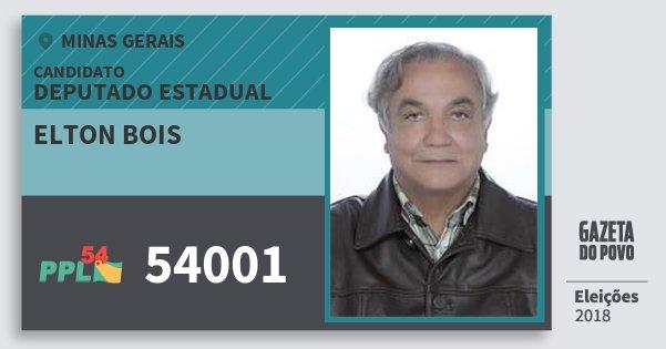Santinho Elton Bois 54001 (PPL) Deputado Estadual | Minas Gerais | Eleições 2018