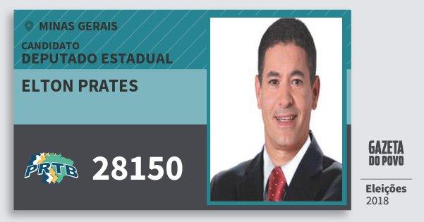 Santinho Elton Prates 28150 (PRTB) Deputado Estadual | Minas Gerais | Eleições 2018