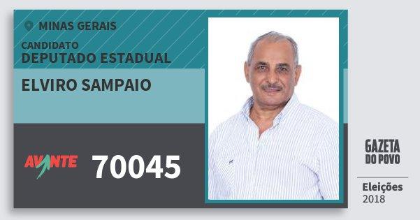 Santinho Elviro Sampaio 70045 (AVANTE) Deputado Estadual | Minas Gerais | Eleições 2018