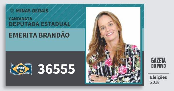Santinho Emerita Brandão 36555 (PTC) Deputada Estadual | Minas Gerais | Eleições 2018