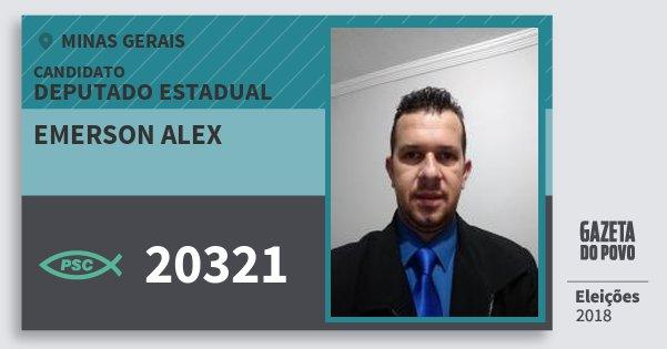 Santinho Emerson Alex 20321 (PSC) Deputado Estadual | Minas Gerais | Eleições 2018