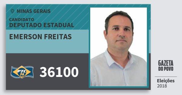 Santinho Emerson Freitas 36100 (PTC) Deputado Estadual | Minas Gerais | Eleições 2018