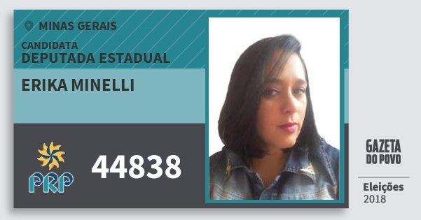 Santinho Erika Minelli 44838 (PRP) Deputada Estadual | Minas Gerais | Eleições 2018