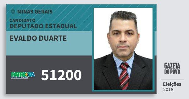 Santinho Evaldo Duarte 51200 (PATRI) Deputado Estadual | Minas Gerais | Eleições 2018