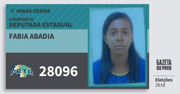 Santinho Fabia Abadia 28096 (PRTB) Deputada Estadual | Minas Gerais | Eleições 2018