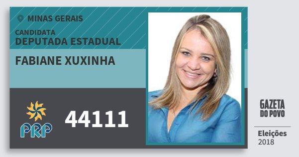 Santinho Fabiane Xuxinha 44111 (PRP) Deputada Estadual | Minas Gerais | Eleições 2018