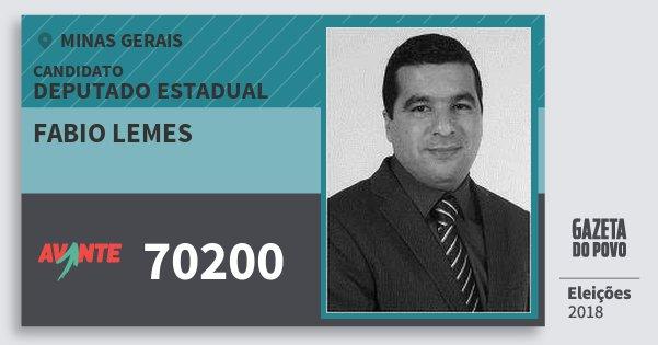 Santinho Fabio Lemes 70200 (AVANTE) Deputado Estadual | Minas Gerais | Eleições 2018
