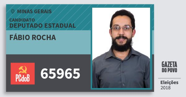 Santinho Fábio Rocha 65965 (PC do B) Deputado Estadual | Minas Gerais | Eleições 2018