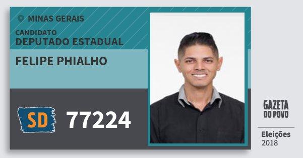 Santinho Felipe Phialho 77224 (SOLIDARIEDADE) Deputado Estadual | Minas Gerais | Eleições 2018