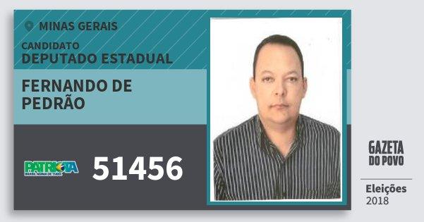 Santinho Fernando de Pedrão 51456 (PATRI) Deputado Estadual | Minas Gerais | Eleições 2018