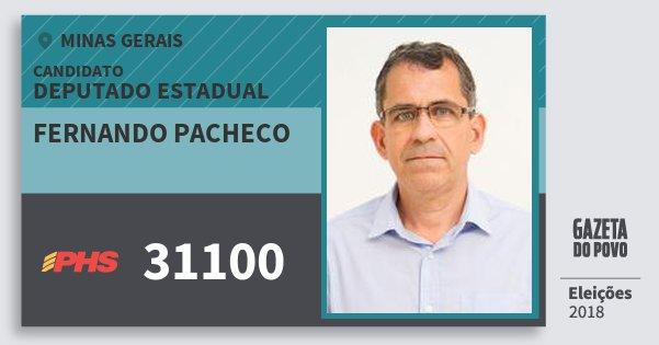 Santinho Fernando Pacheco 31100 (PHS) Deputado Estadual | Minas Gerais | Eleições 2018