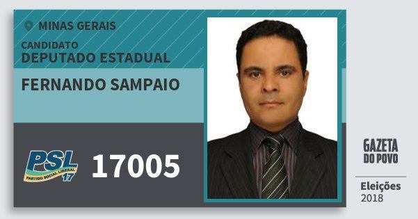 Santinho Fernando Sampaio 17005 (PSL) Deputado Estadual | Minas Gerais | Eleições 2018