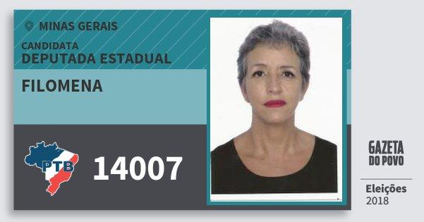 Santinho Filomena 14007 (PTB) Deputada Estadual   Minas Gerais   Eleições 2018