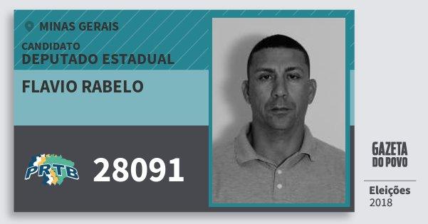 Santinho Flavio Rabelo 28091 (PRTB) Deputado Estadual | Minas Gerais | Eleições 2018