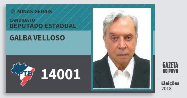 Santinho Galba Velloso 14001 (PTB) Deputado Estadual | Minas Gerais | Eleições 2018