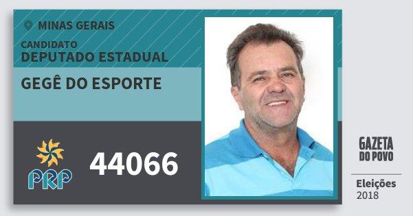 Santinho Gegê do Esporte 44066 (PRP) Deputado Estadual | Minas Gerais | Eleições 2018