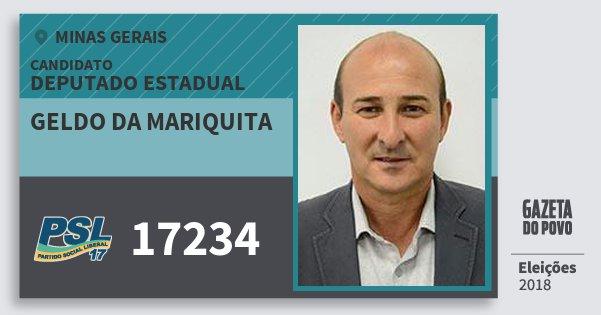 Santinho Geldo da Mariquita 17234 (PSL) Deputado Estadual | Minas Gerais | Eleições 2018