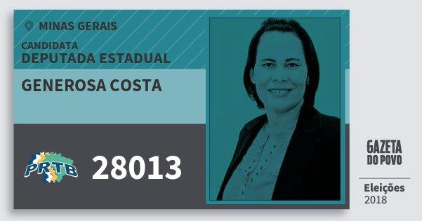 Santinho Generosa Costa 28013 (PRTB) Deputada Estadual | Minas Gerais | Eleições 2018
