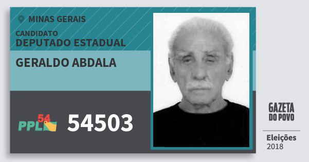 Santinho Geraldo Abdala 54503 (PPL) Deputado Estadual | Minas Gerais | Eleições 2018