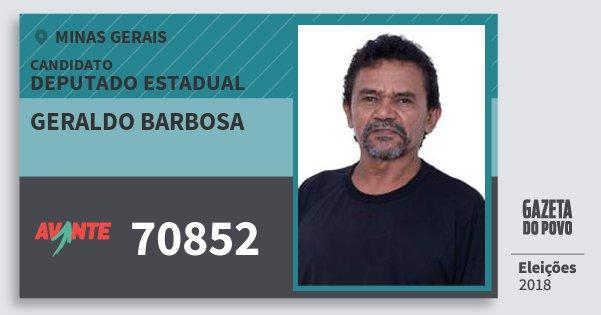 Santinho Geraldo Barbosa 70852 (AVANTE) Deputado Estadual | Minas Gerais | Eleições 2018