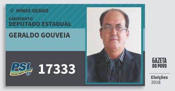 Santinho Geraldo Gouveia 17333 (PSL) Deputado Estadual | Minas Gerais | Eleições 2018