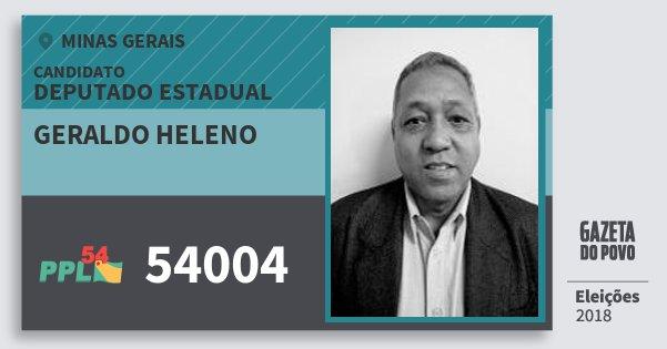 Santinho Geraldo Heleno 54004 (PPL) Deputado Estadual | Minas Gerais | Eleições 2018