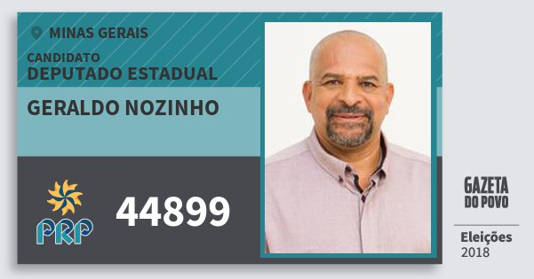 Santinho Geraldo Nozinho 44899 (PRP) Deputado Estadual | Minas Gerais | Eleições 2018
