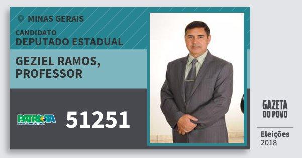 Santinho Geziel Ramos, Professor 51251 (PATRI) Deputado Estadual | Minas Gerais | Eleições 2018