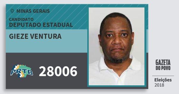 Santinho Gieze Ventura 28006 (PRTB) Deputado Estadual | Minas Gerais | Eleições 2018
