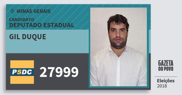 Santinho Gil Duque 27999 (DC) Deputado Estadual | Minas Gerais | Eleições 2018