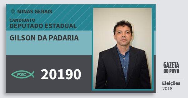 Santinho Gilson da Padaria 20190 (PSC) Deputado Estadual | Minas Gerais | Eleições 2018